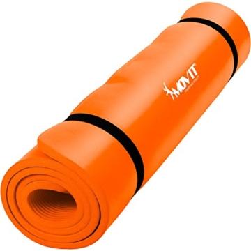 MOVIT Pilates Gymnastikmatte, Yogamatte, phthalatfrei, SGS geprüft, L 190cm x B 60cm, Stärke 1,5cm, Orange - 1