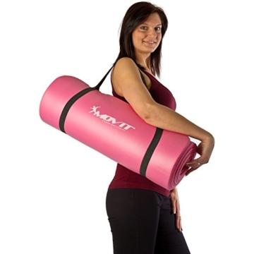 MOVIT Pilates Gymnastikmatte, Yogamatte, phthalatfrei, SGS geprüft, L 190cm x B 60cm, Stärke 1,5cm, Orange - 8