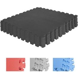 Schutzmatten-Set – GORILLA SPORTS 8 Puzzle-/Sport-Matten 60 x 60 cm, Bodenschutz in Schwarz - 1