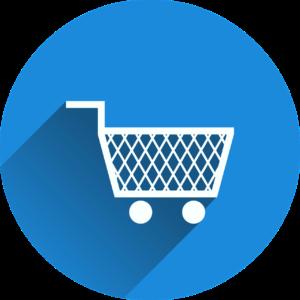 Ein blauer Kreis mit einem Einkaufwagen